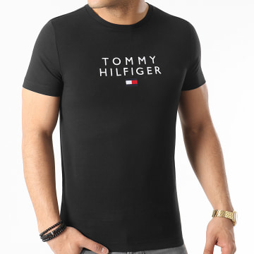 Tommy Hilfiger - Tee Shirt Stacked Tommy Flag 7663 Noir