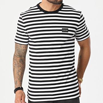 Calvin Klein - Tee Shirt A Rayures Chest Logo Stripe 7288 Noir Blanc