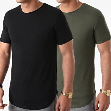 LBO - Lot de 2 Tee Shirts Oversize 1617 Vert Kaki Noir