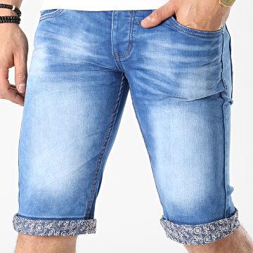 Mackten - Short Jean Slim JS457 Bleu Denim