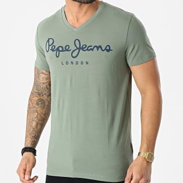 Pepe Jeans - Tee Shirt Col V Original Stretch PM500373 Vert