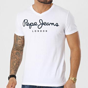 Pepe Jeans - Tee Shirt Col V Original Stretch PM500373 Blanc