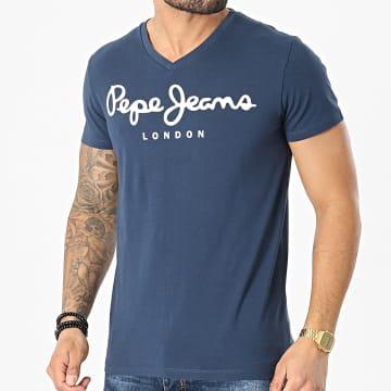 Pepe Jeans - Tee Shirt Col V Original Stretch PM500373 Bleu