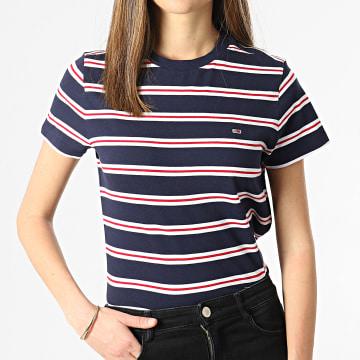 Tommy Hilfiger - Tee Shirt Crop Femme A Rayures Regular Contrast Baby 0180 Bleu Marine