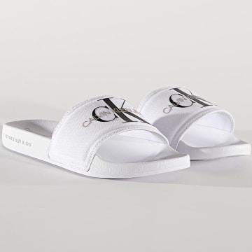 Calvin Klein - Claquettes Femme Slide Monogram 0103 Bright White