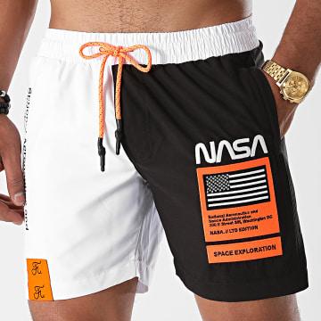Final Club - Short De Bain NASA Half Limited Edition Noir Blanc Détails Orange Fluo
