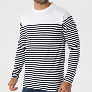 Jack And Jones - Tee Shirt Manches Longues A Rayures Blacroft Blanc Bleu Marine