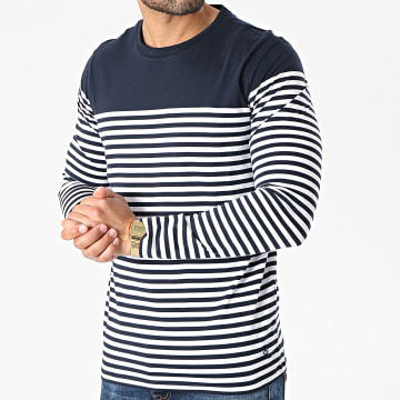 Jack And Jones - Tee Shirt Manches Longues A Rayures Blacroft Bleu Marine Blanc