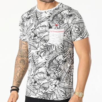 MZ72 - Tee Shirt Poche Tell Gris Clair Floral