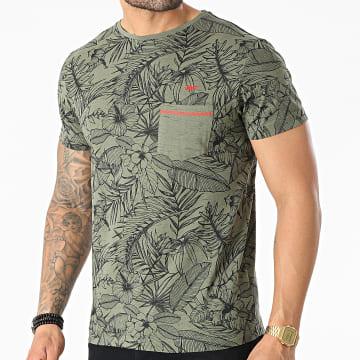 MZ72 - Tee Shirt Poche Tell Vert Kaki Floral