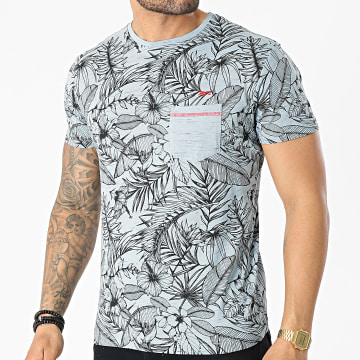 MZ72 - Tee Shirt Poche Tell Bleu Clair Floral