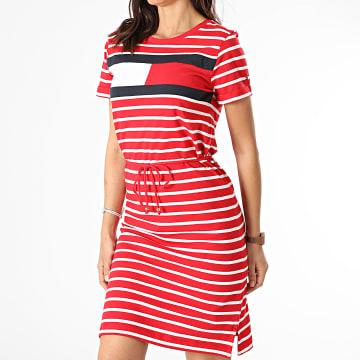 Tommy Hilfiger - Robe Tee Shirt Femme A Rayures ABO Regular Flag 2438 Rouge Blanc