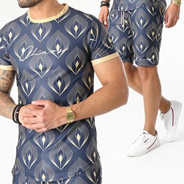 Uniplay - Ensemble Tee Shirt Short ES-33 Bleu Marine Jaune