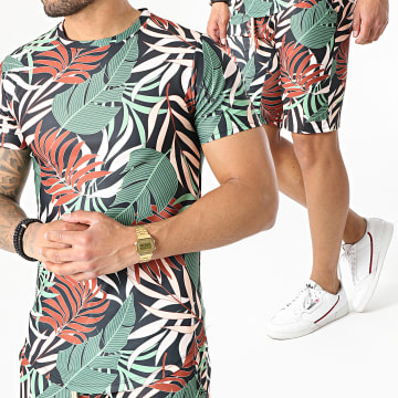 Uniplay - Ensemble Tee Shirt Short Floral ES-25 Noir Vert Marron