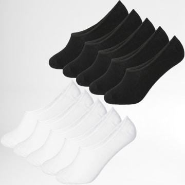 LBO - Lot De 10 Paires De Chaussettes Invisibles 0019 Noir Blanc