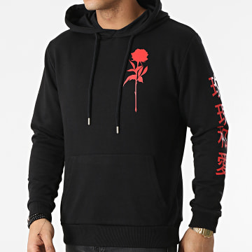 Luxury Lovers - Sweat Capuche Oriental Mono Noir Rouge