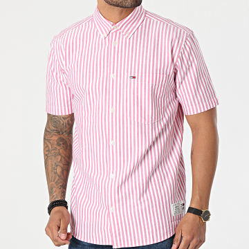 Tommy Jeans - Chemise Manches Courtes A Rayures Striped 0160 Blanc Rose