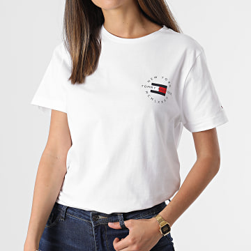 Tommy Hilfiger - Tee Shirt Femme Circle Chest Corp 7680 Blanc