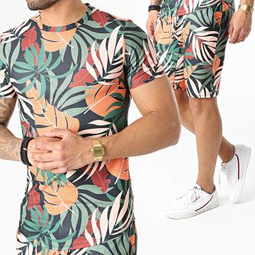 Uniplay - Ensemble Tee Shirt Short Floral ES-22 Noir Vert Orange