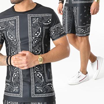 Uniplay - Ensemble Tee Shirt Short Bandana ES-31 Noir