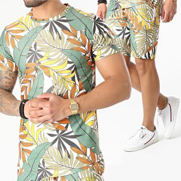Uniplay - Ensemble Tee Shirt Short Floral ES-26 Blanc Vert Jaune