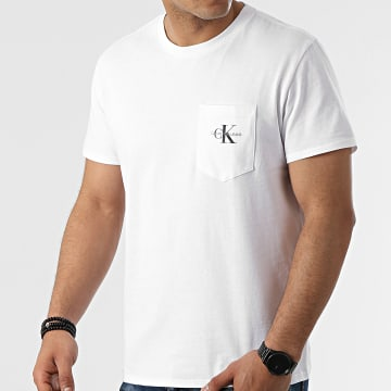 Calvin Klein - Tee Shirt Poche Monogram 7294 Blanc