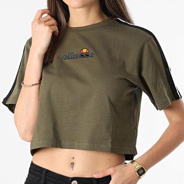 Ellesse - Tee Shirt Crop Femme A Bandes Amarillo SGI09281 Vert Kaki