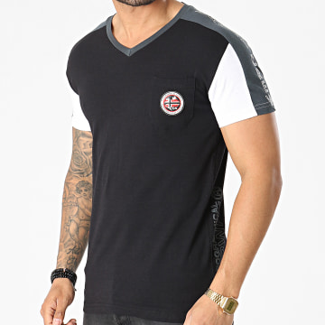 Geographical Norway - Tee Shirt Poche A Bandes Jorth Noir