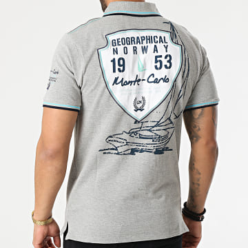 Geographical Norway - Polo Manches Courtes Kocean Gris Chiné