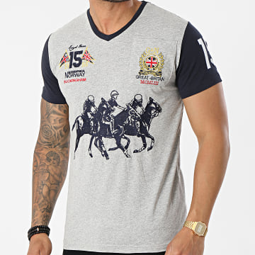 Geographical Norway - Tee Shirt Poche Col V Joloclub Gris Chiné