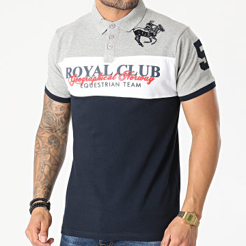 Geographical Norway - Polo Manches Courtes Kice Gris Chiné Bleu Marine
