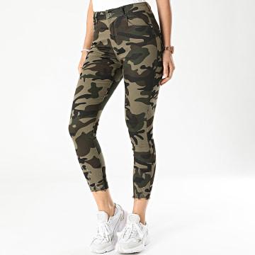 Girls Only - Jean Skinny Femme Camouflage KG3294 Vert Kaki