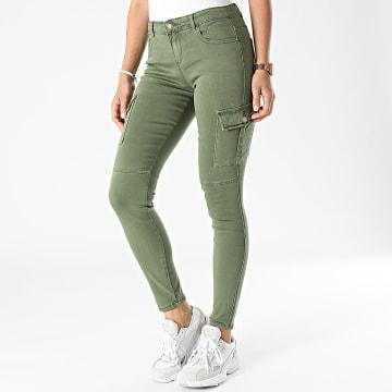 Girls Outfit - Pantalon Cargo Skinny Femme S353 Vert