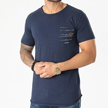 Indicode Jeans - Tee Shirt Poche Gaillarde 40-649 Bleu Marine