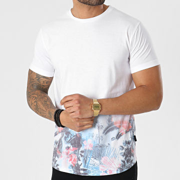 Indicode Jeans - Tee Shirt Aviles 40-591 Blanc Floral Dégradé