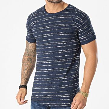 Indicode Jeans - Tee Shirt A Rayures Dunkerque 40-644 Bleu Marine