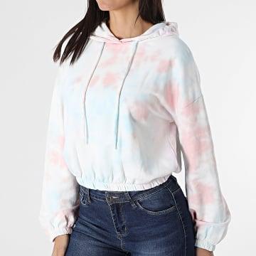 Only - Sweat Capuche Crop Femme Tie Dye Hella Blanc Rose Bleu