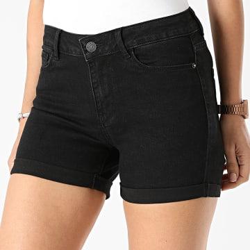 Vero Moda - Short Jean Slim Femme Hot Seven Noir