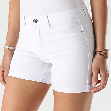 Vero Moda - Short Jean Slim Femme Hot Seven Blanc