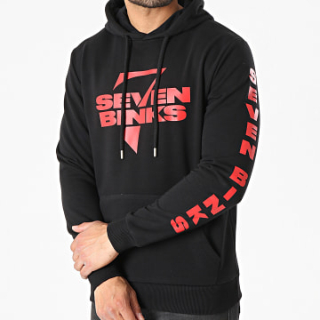 7 Binks - Sweat Capuche Logo 2021 Noir Rouge