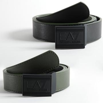 EA7 Emporio Armani - Ceinture Réversible 245376 Noir Vert Kaki
