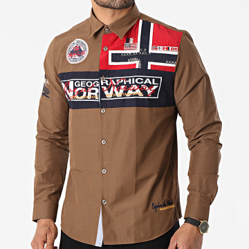 Geographical Norway - Chemise Manches Longues Zorarz Marron