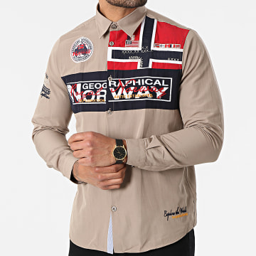 Geographical Norway - Chemise Manches Longues Zorarz Taupe