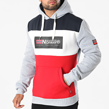 Geographical Norway - Sweat Capuche Golem Gris Chiné Rouge