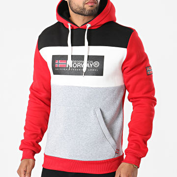 Geographical Norway - Sweat Capuche Golem Rouge Gris Chiné