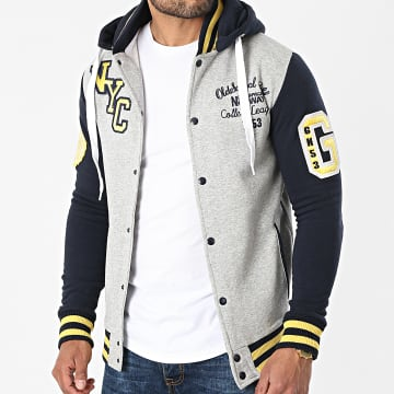 Geographical Norway - Veste Capuche All In Gris Chiné Bleu Marine