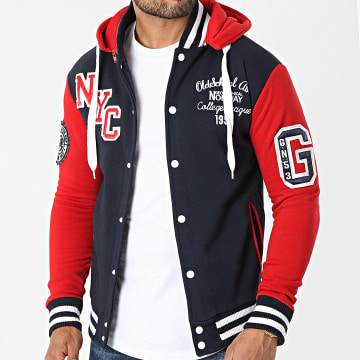 Geographical Norway - Veste Capuche All In Bleu Marine Rouge