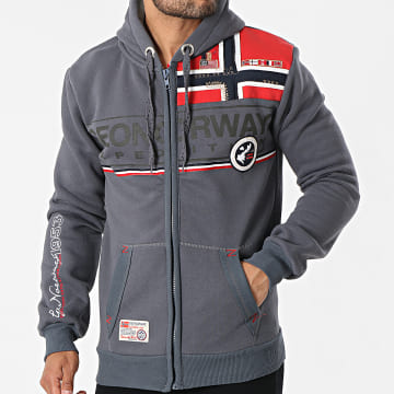 Geographical Norway - Sweat Zippé Capuche Flipper Gris Anthracite