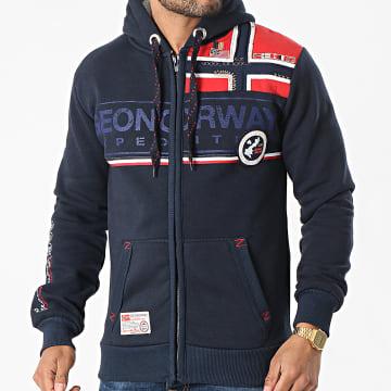 Geographical Norway - Sweat Zippé Capuche Flipper Bleu Marine