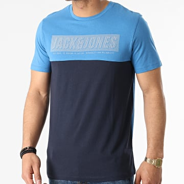 Jack And Jones - Tee Shirt Chimbal Bleu Marine Bleu Clair